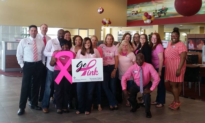 Legacy Toyota employees wearing pink for breast cancer