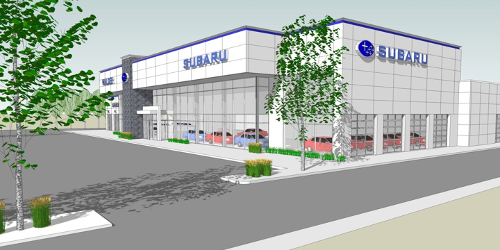 Computer rendering of the new Walser Subaru dealership